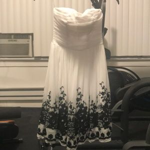 Strapless White Dress with Black Floral Embroidery